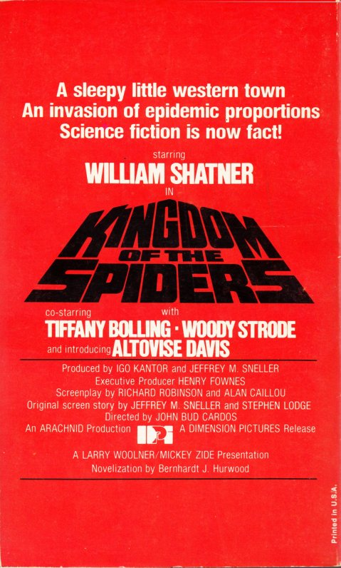 Kingdom of the Spiders - Novelization (back)