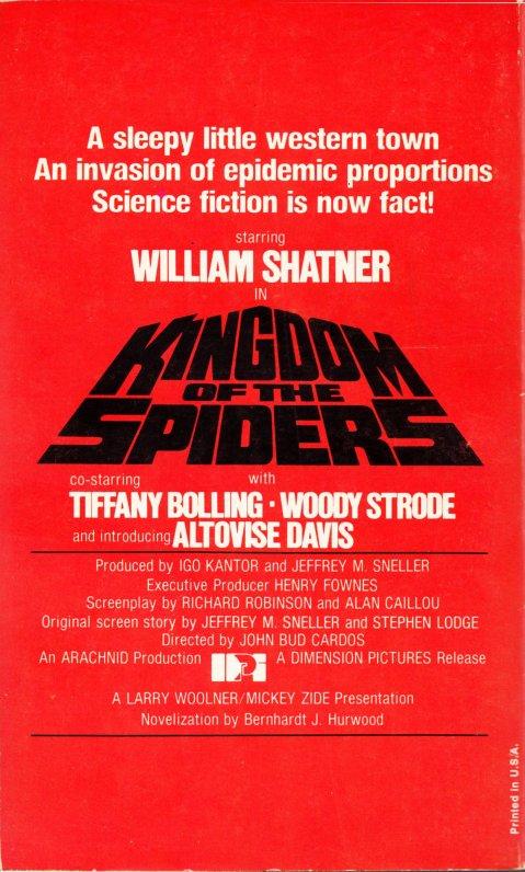 Kingdom of the Spiders - Novelization (back)