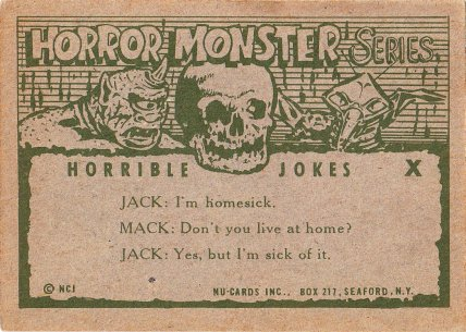 Monster Cards (orange series, 1961) #140: Horrible Joke