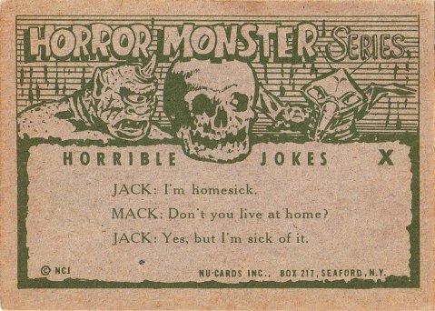 Monster Cards (orange series, 1961) #140: Horrible Joke