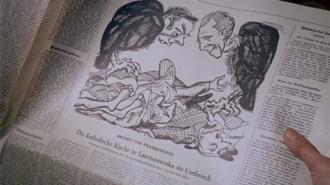 Political cartoon of Brandt and Frankenstein.